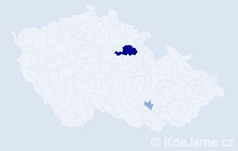 Příjmení: 'Gottlandová', počet výskytů 10 v celé ČR