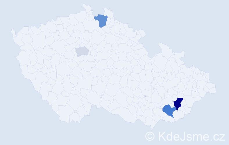 Příjmení: 'Heiplík', počet výskytů 5 v celé ČR