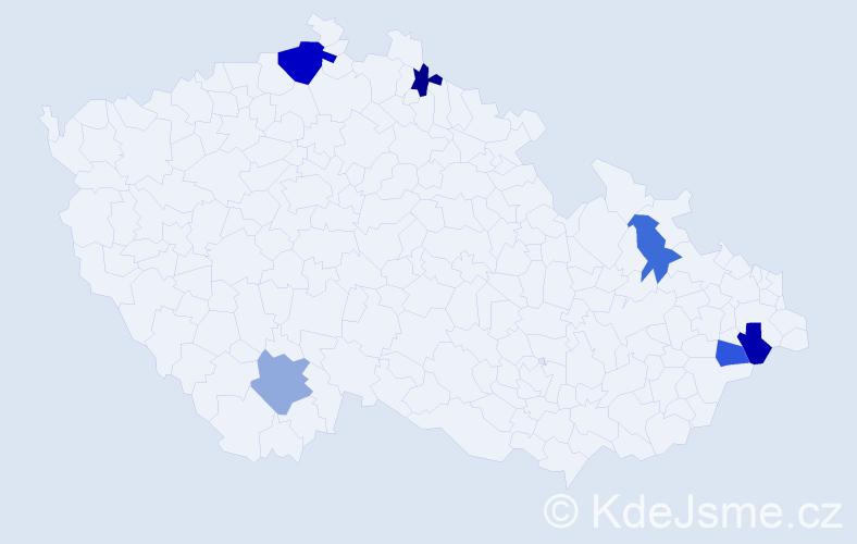 Příjmení: 'Daučík', počet výskytů 8 v celé ČR