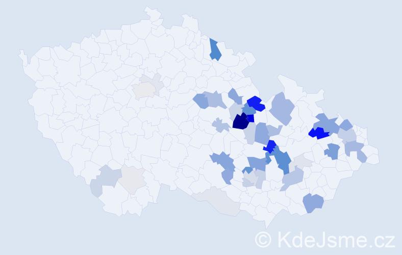 Příjmení: 'Huška', počet výskytů 135 v celé ČR