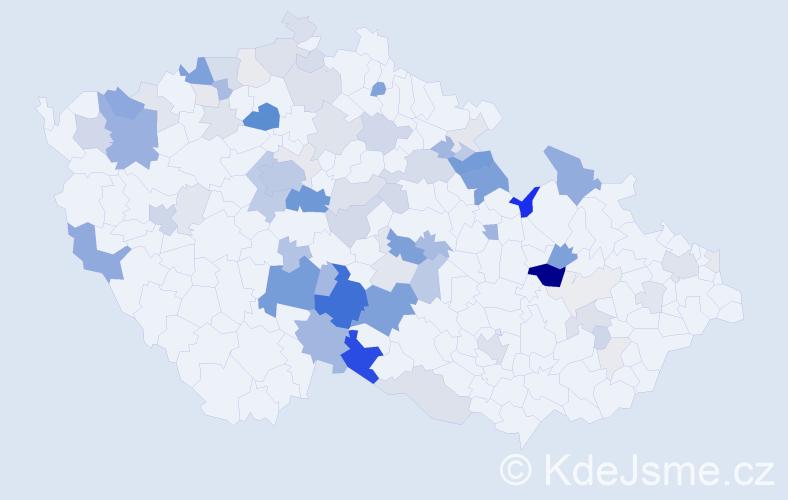 Příjmení: 'Kejvalová', počet výskytů 271 v celé ČR