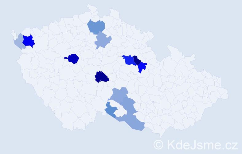 Příjmení: 'Ďurač', počet výskytů 42 v celé ČR