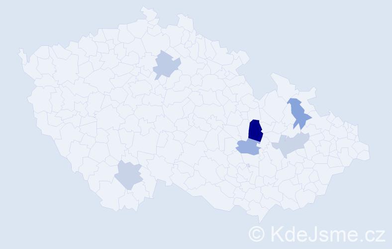 Příjmení: 'Guštárová', počet výskytů 8 v celé ČR