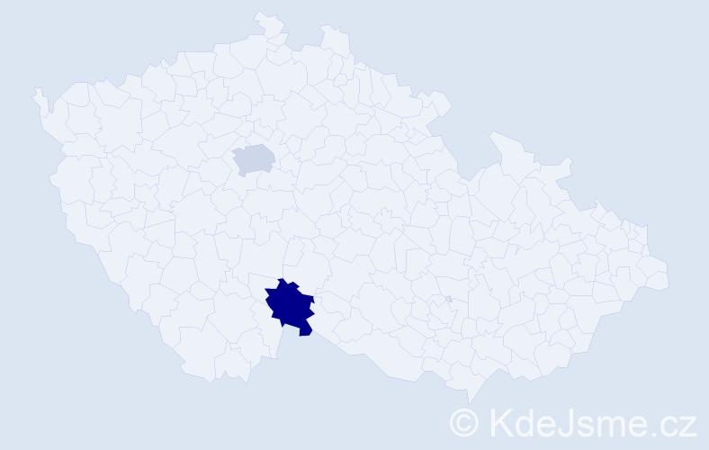 Příjmení: 'Danney', počet výskytů 2 v celé ČR