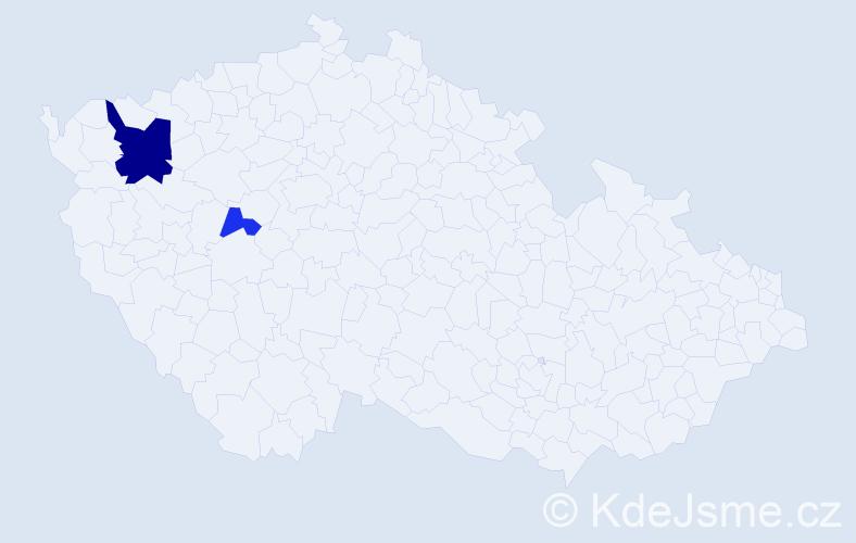 Příjmení: 'Čub', počet výskytů 5 v celé ČR