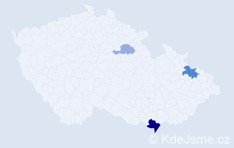 Příjmení: 'Makai', počet výskytů 6 v celé ČR