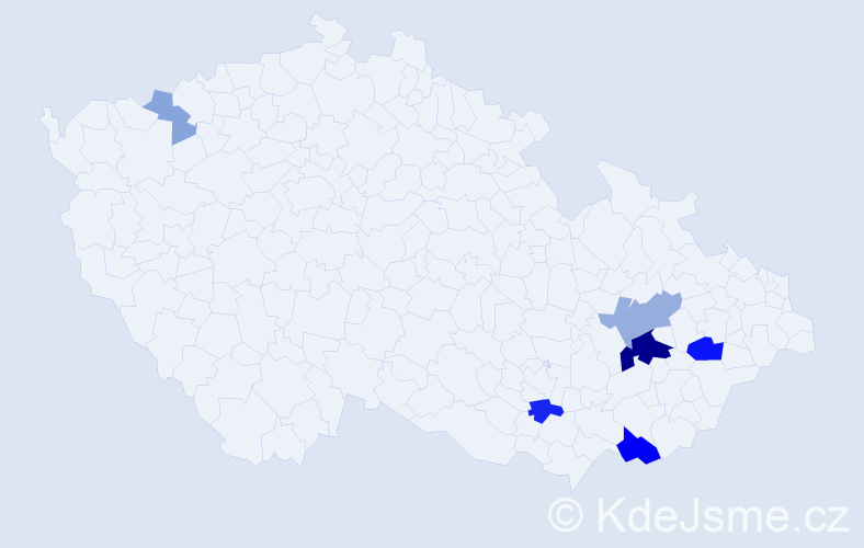 Příjmení: 'Drajsajtl', počet výskytů 18 v celé ČR