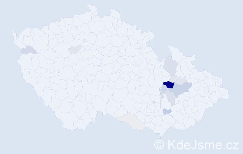 Příjmení: 'Čunderlová', počet výskytů 64 v celé ČR