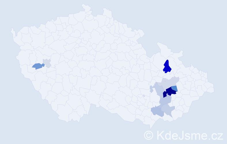 Příjmení: 'Gálíčková', počet výskytů 20 v celé ČR