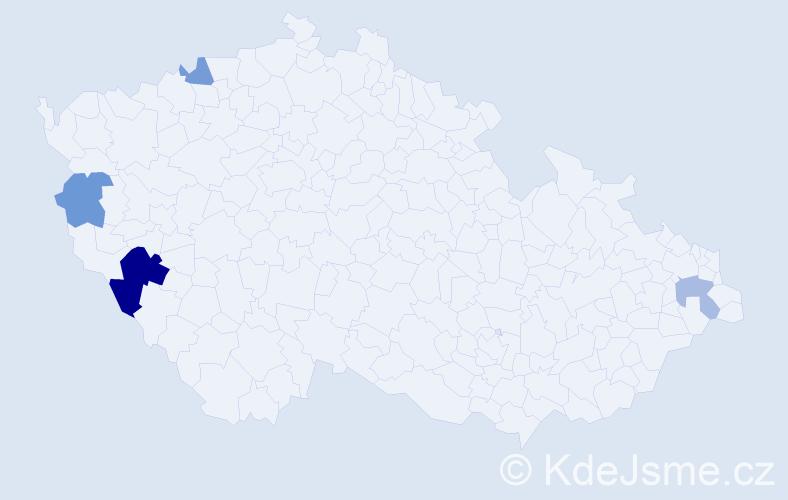 Příjmení: 'Čomajová', počet výskytů 7 v celé ČR