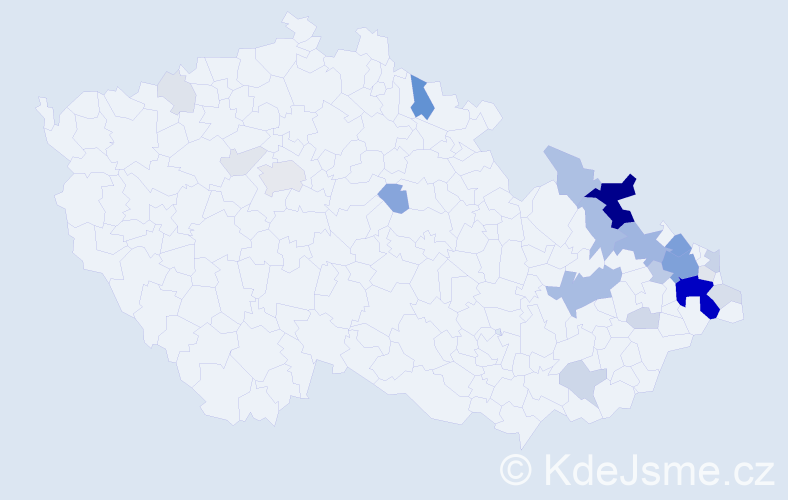 Příjmení: 'Bohačíková', počet výskytů 102 v celé ČR