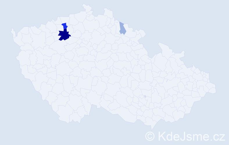 Příjmení: 'Hajmová', počet výskytů 13 v celé ČR