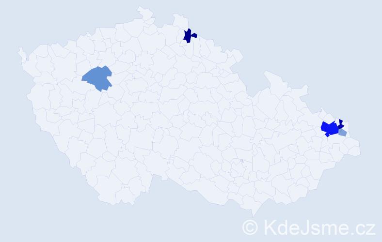 Příjmení: 'Gurbovič', počet výskytů 12 v celé ČR