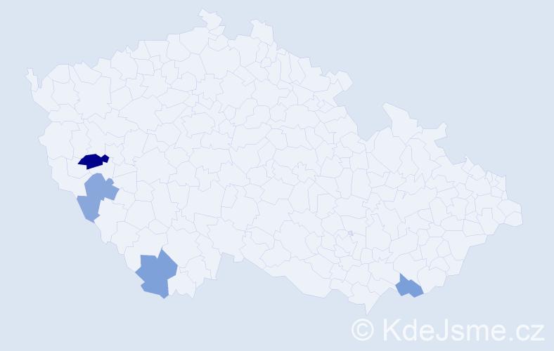 Příjmení: 'Kleisznerová', počet výskytů 5 v celé ČR