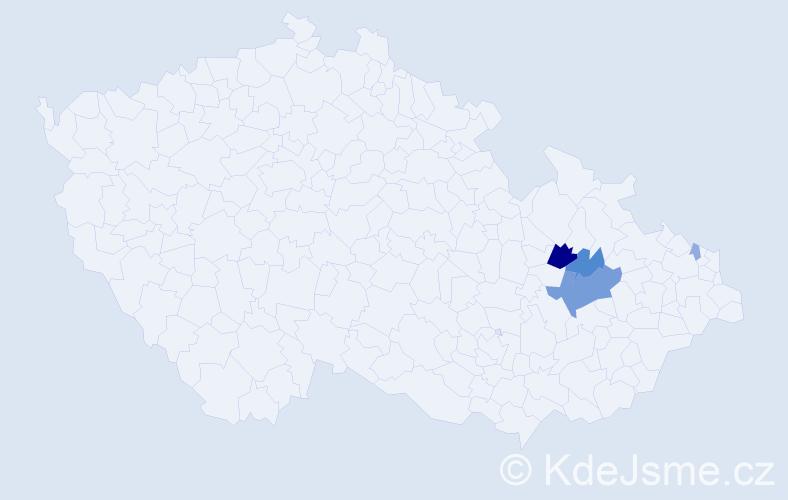 Příjmení: 'Capka', počet výskytů 13 v celé ČR