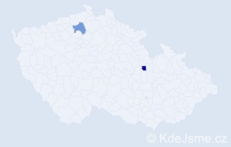 Příjmení: 'Gelovová', počet výskytů 2 v celé ČR