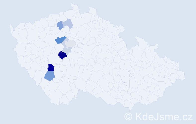 Příjmení: 'Čampulka', počet výskytů 19 v celé ČR