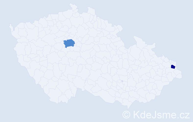 Příjmení: 'Bielava', počet výskytů 5 v celé ČR