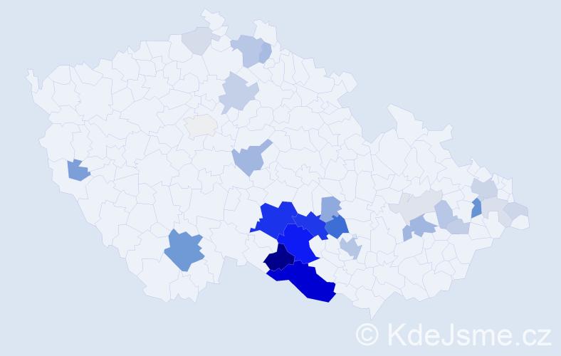 Příjmení: 'Čtveráček', počet výskytů 105 v celé ČR