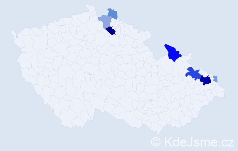 Příjmení: 'Kostelňák', počet výskytů 34 v celé ČR