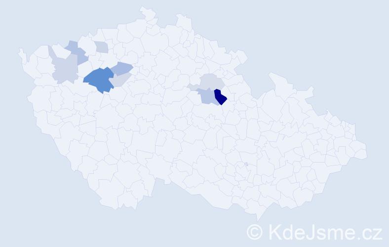 Příjmení: 'Číhař', počet výskytů 15 v celé ČR