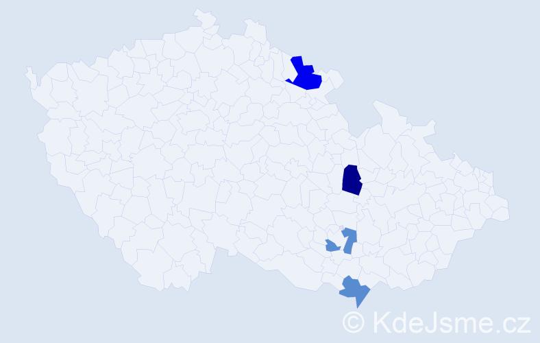 Příjmení: 'Jakubčinová', počet výskytů 5 v celé ČR