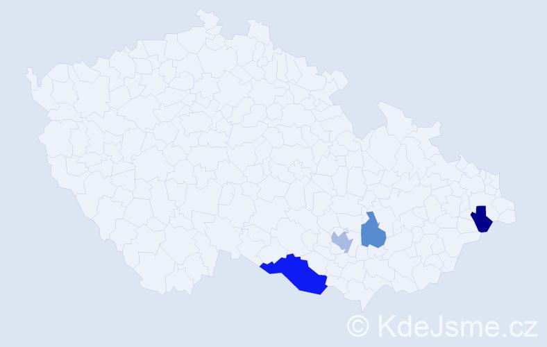 Příjmení: 'Kačal', počet výskytů 12 v celé ČR
