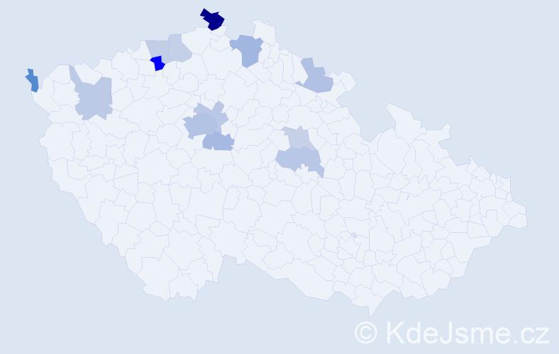 Příjmení: 'Haaseová', počet výskytů 27 v celé ČR