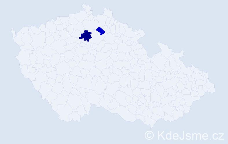 Příjmení: 'Brandelová', počet výskytů 4 v celé ČR