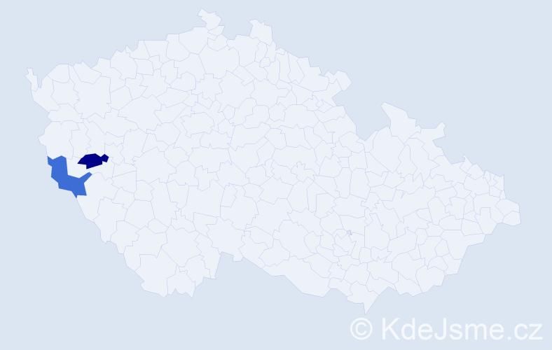 Příjmení: 'Bagošová', počet výskytů 2 v celé ČR