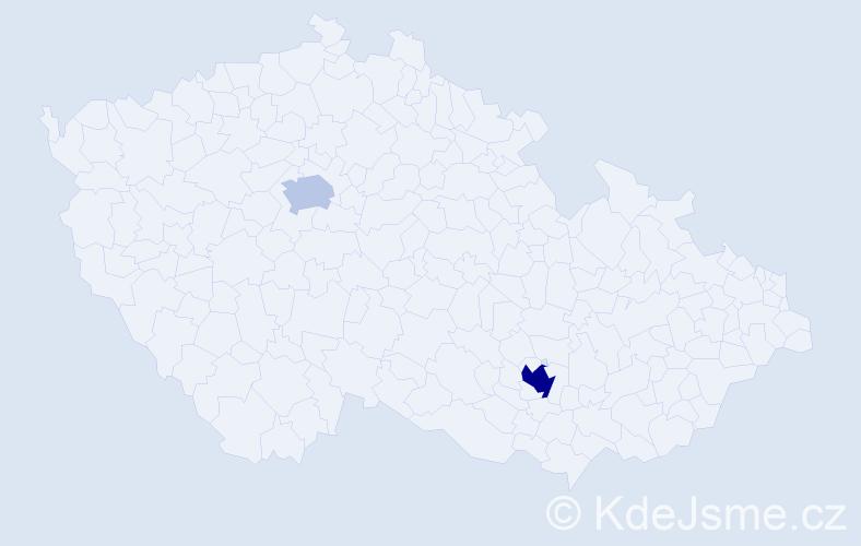 Příjmení: 'Ibragimova', počet výskytů 4 v celé ČR
