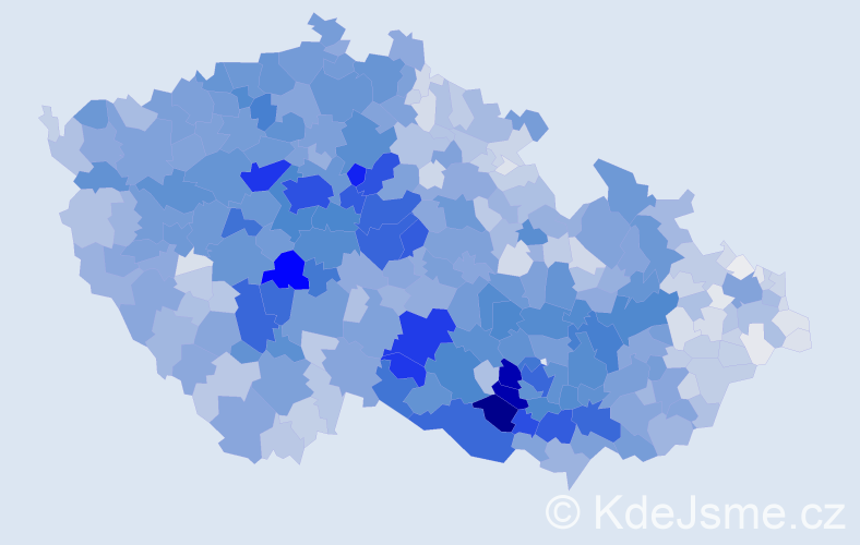 Příjmení: 'Procházka', počet výskytů 16067 v celé ČR