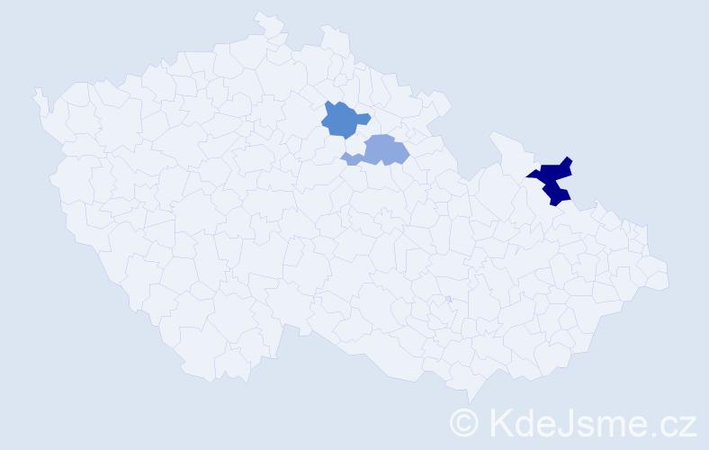 Příjmení: 'Guciová', počet výskytů 4 v celé ČR