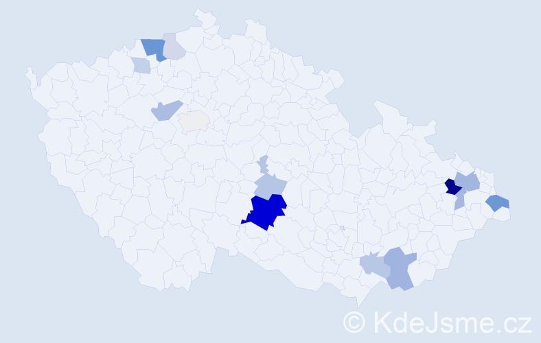 Příjmení: 'Homová', počet výskytů 39 v celé ČR