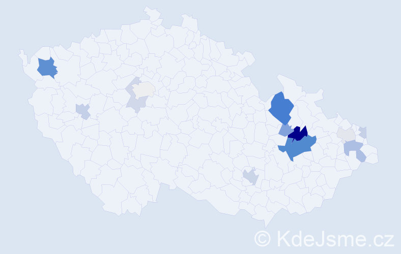 Příjmení: 'Genčurová', počet výskytů 36 v celé ČR