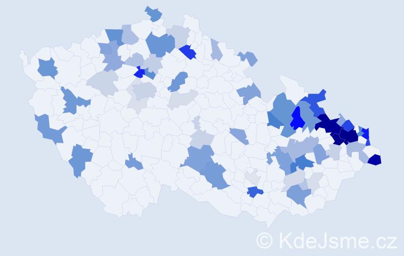Příjmení: 'Hajduk', počet výskytů 262 v celé ČR