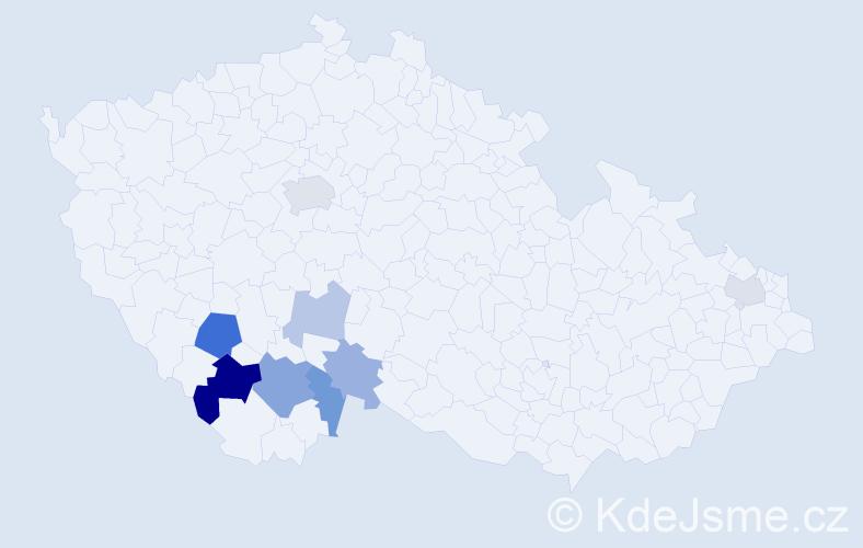 Příjmení: 'Joun', počet výskytů 17 v celé ČR