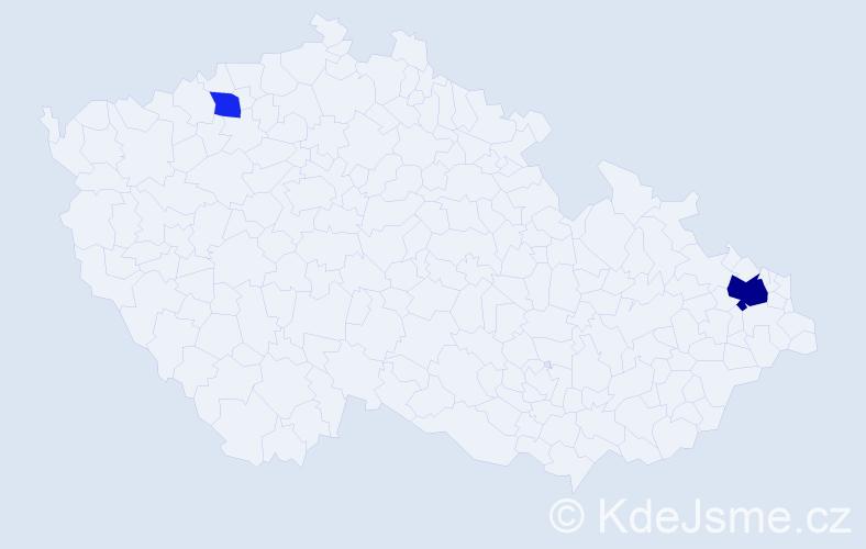 Příjmení: 'Lašinská', počet výskytů 5 v celé ČR