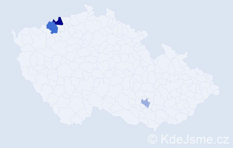 Příjmení: 'Eiermannová', počet výskytů 3 v celé ČR