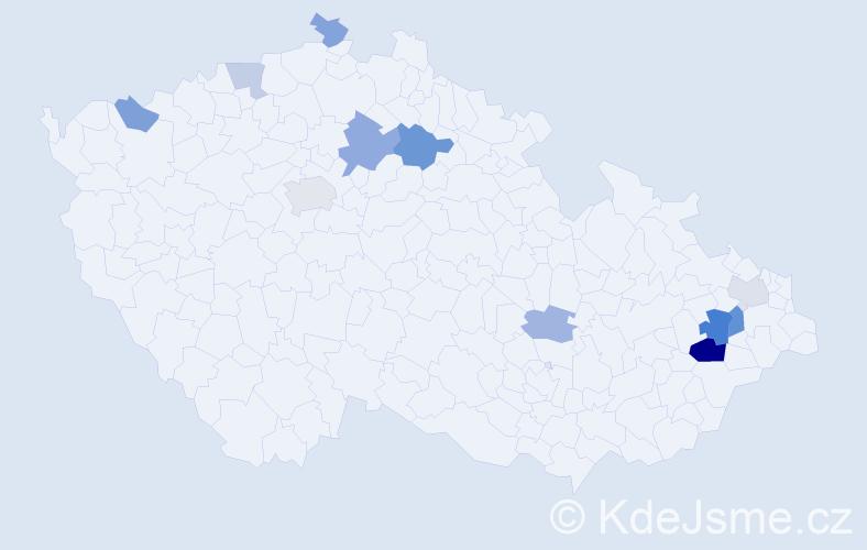 Příjmení: 'Kateřiňáková', počet výskytů 21 v celé ČR
