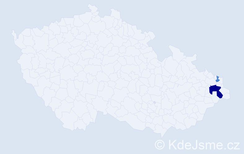Příjmení: 'Gągola', počet výskytů 5 v celé ČR
