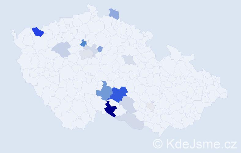 Příjmení: 'Kasalý', počet výskytů 37 v celé ČR