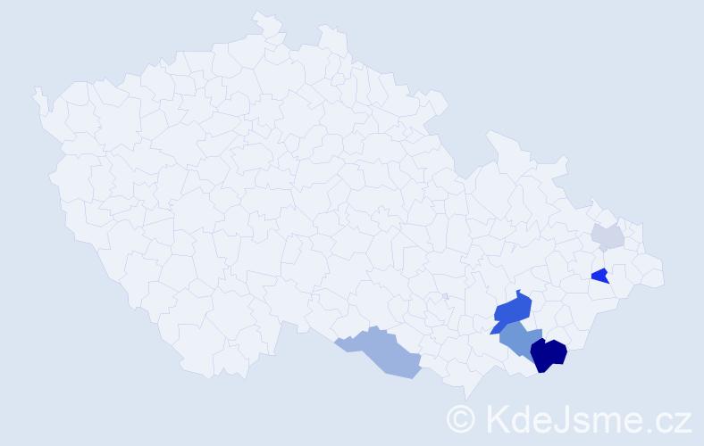 Příjmení: 'Gavala', počet výskytů 12 v celé ČR