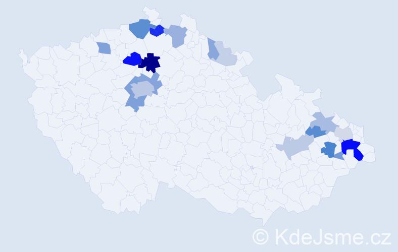 Příjmení: 'Havlák', počet výskytů 69 v celé ČR