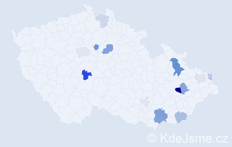 Příjmení: 'Kačíková', počet výskytů 20 v celé ČR