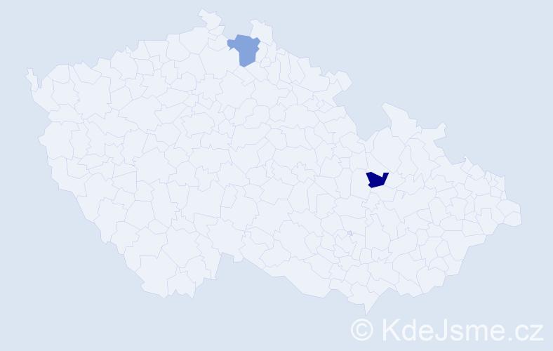 Příjmení: 'Kin', počet výskytů 7 v celé ČR