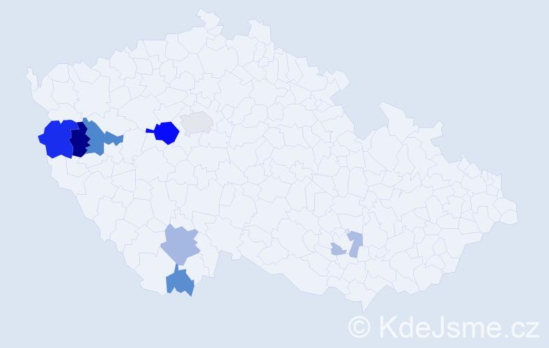Příjmení: 'Čampulová', počet výskytů 19 v celé ČR