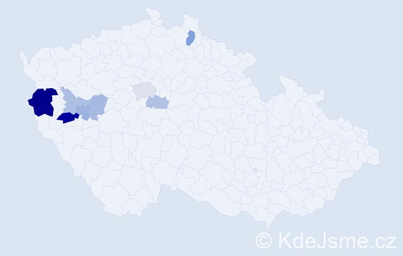 Příjmení: 'Brouzda', počet výskytů 20 v celé ČR
