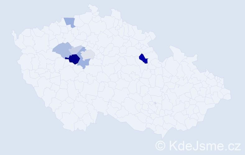 Příjmení: 'Bonová', počet výskytů 19 v celé ČR