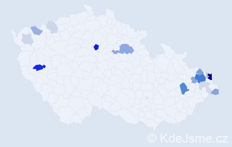 Příjmení: 'Horsinka', počet výskytů 55 v celé ČR